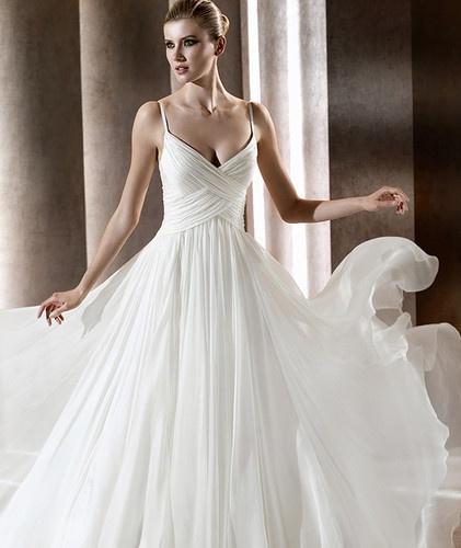 Spaghetti strap Chiffon Fold Wedding dress Bridal gown 2012 New