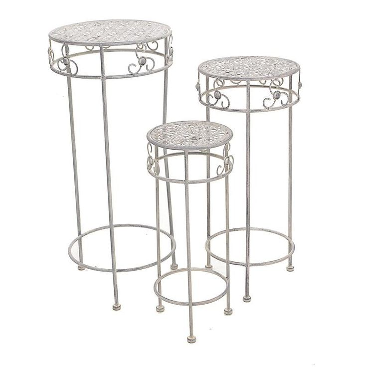 S/3 METAL FLOWER STAND IN GREY COLOR 30X30X70 - Flower Stands - FURNITURE