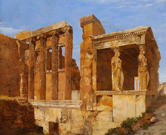 Charles Lock Eastlake, 1818. A View of the Erechtheum on the Acropolis, Athens, oil on paper laid on canvas, 18 1/4 x 21 1/2 inches. Collection of Middlebury College Museum of Art. Gift (by exchange) of Wilson Farnsworth, George Mead, and Henry Sheldon, 2015.020.