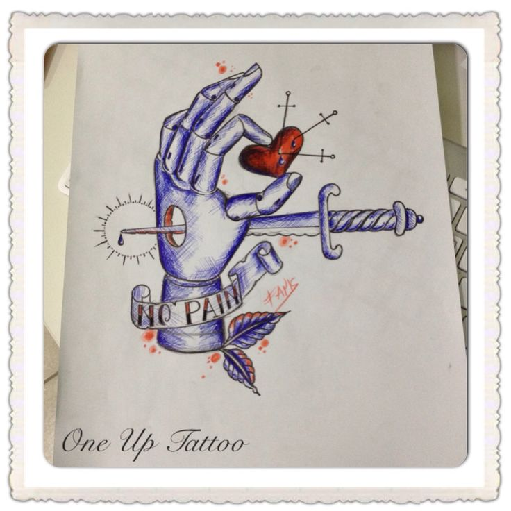 Wooden hand tattoo sketch holding heart