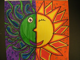 Warm and cool color sun. Could also do half sun and half moon.