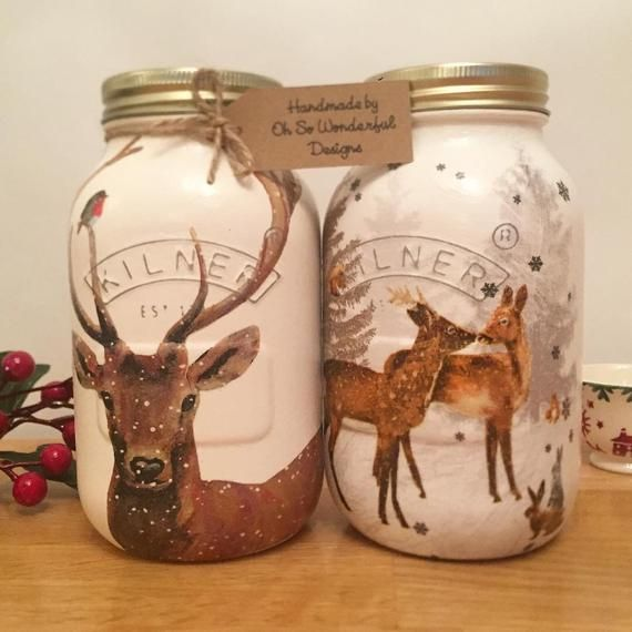 Custom Listing For Claire Lloyd In 2020 Woodland Christmas Christmas Flowers Decorative Jars