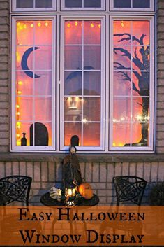 Easy Halloween decorations. Use black paper to make silhouettes on the window fo…