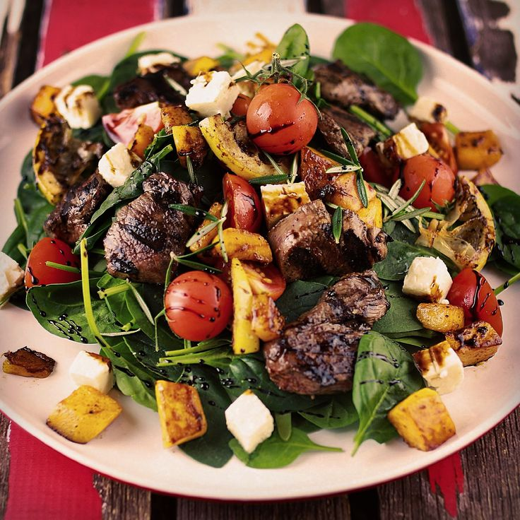 Lamb Salad, Grilled Lamb Loin, Spinach, Feta, Cherry Tomatoes, Pumpkin and Balsamic Vinaigrette