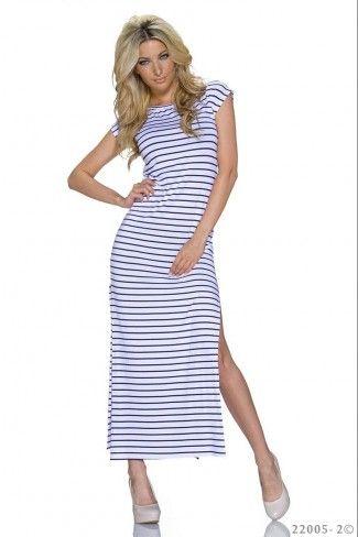 Ριγέ μάξι φόρεμα με σκισίματα - Άσπρο Μαύρο