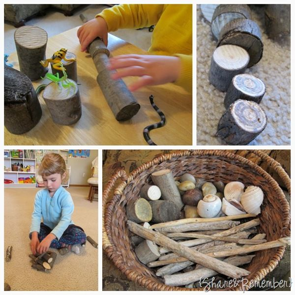 open-ended play with found nature items for exploring and creating