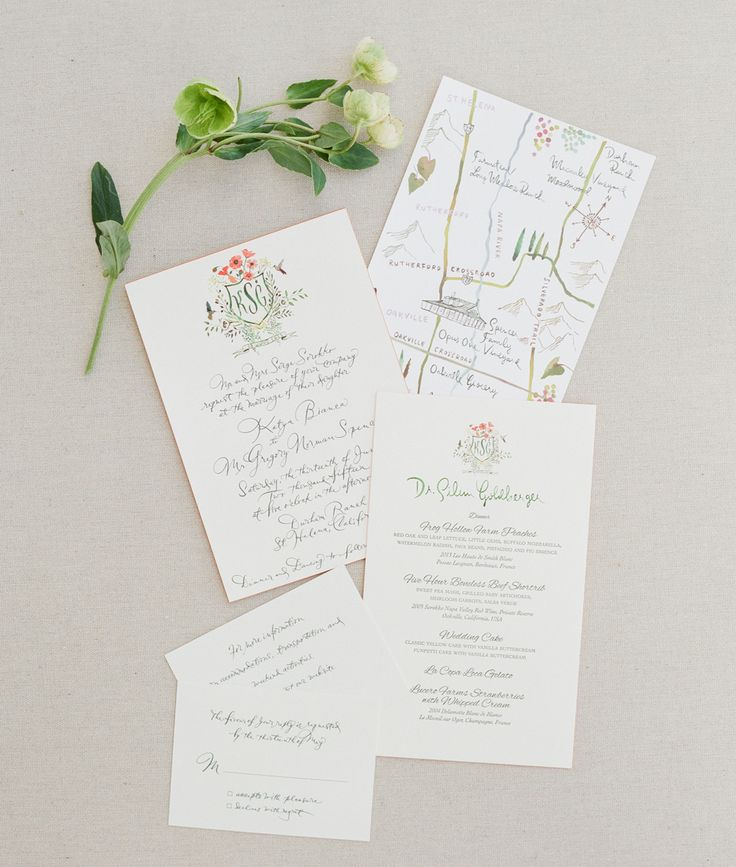 Best Of 2016 :: Hand-lettered Wedding Suite with Custom Map and Custom Crest, by Happy Menocal   Snippet & Ink