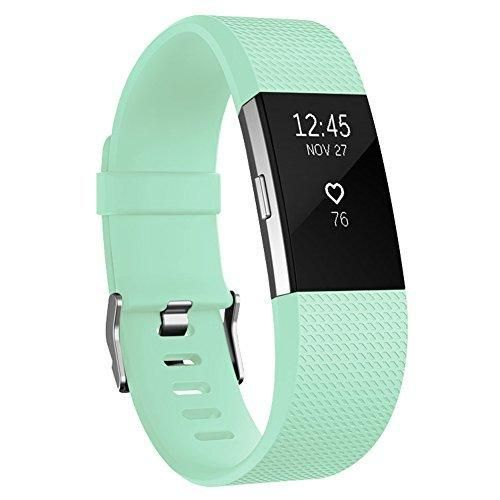 Fitbit Charge 2 Bands AK Classic Edition Adjustable Comfortable Replacement Wristbands for Fitbit Charge 2 Heart Rate [No Tracker] (Teal Small)