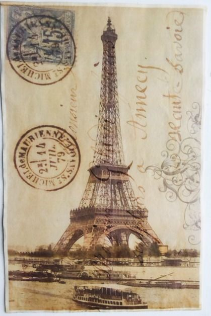 """Eiffel Tower Vintage Aged Papers 11"""" x 17"""""""