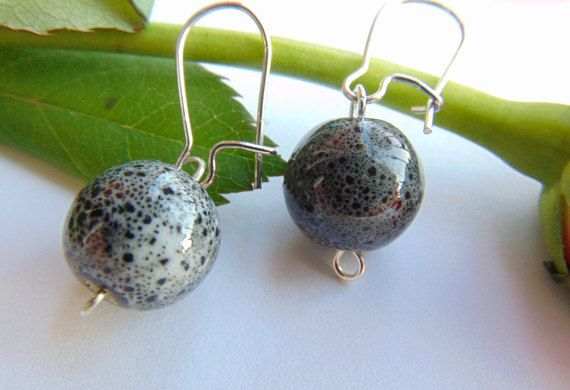 Dark Gray Ceramic Balls Earrings Dangle Simple Round by MaddaKnits