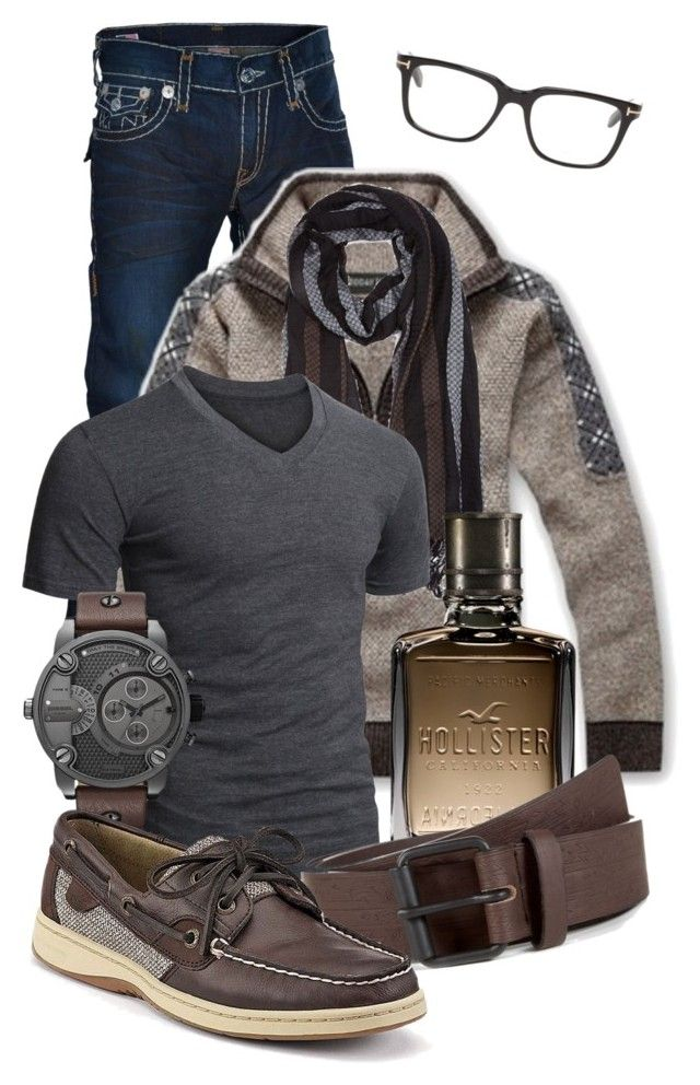 """Men's Casual #7"" by jacci0528 ❤ liked on Polyvore featuring True Religion, Tom Ford, 21 Men, Doublju, Hollister Co., Sperry Top-Sider, casual, outfit, mens and menswear"