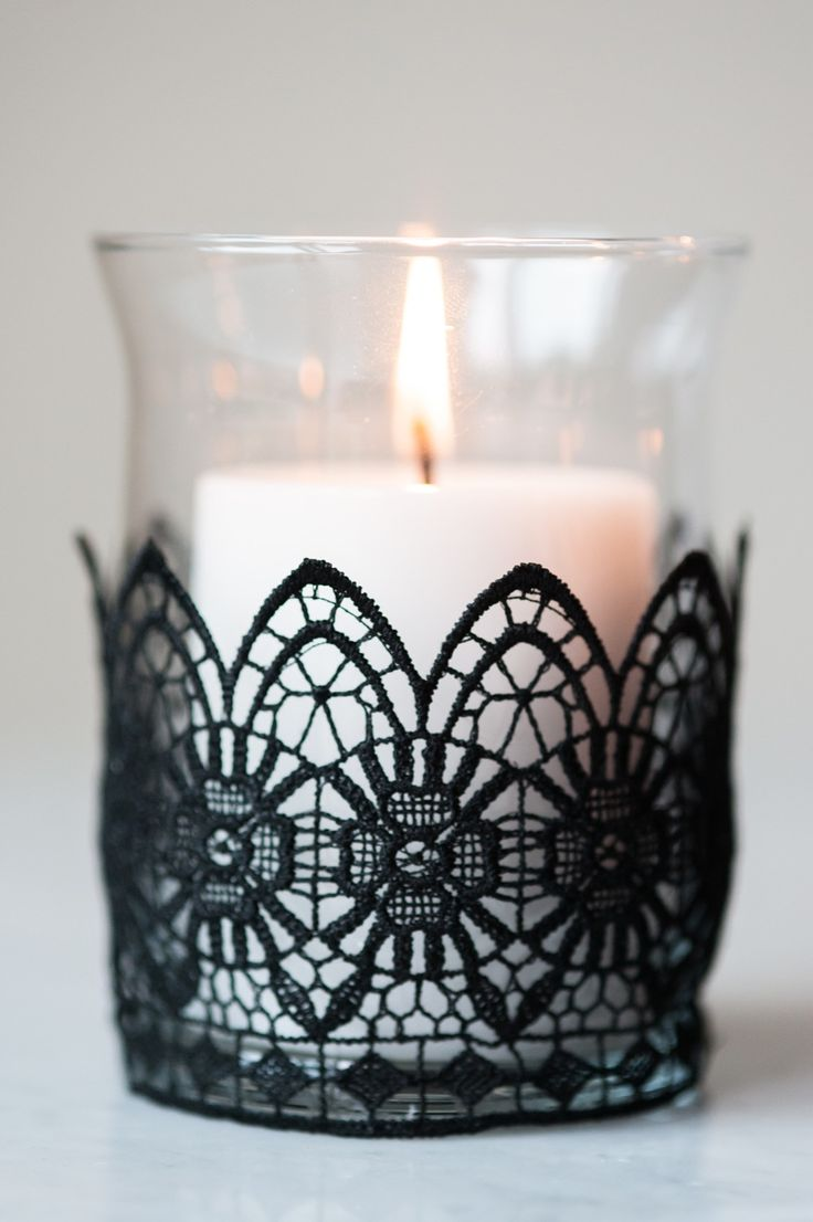 DIY Black Lace Candle Holders by @cydconverse                                                                                                                                                                                 More