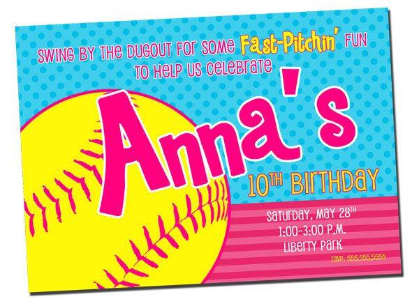 softball invitations | Printable SOFTBALL Birthday Party Invitation by khudd on Etsy