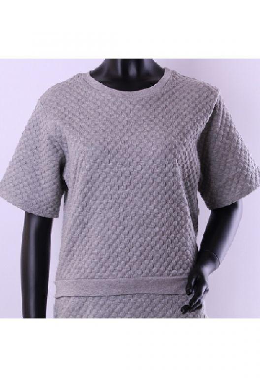 ICHI Mita Short Sleeve T-shirt Grey Melange - T-shirts - MaMilla