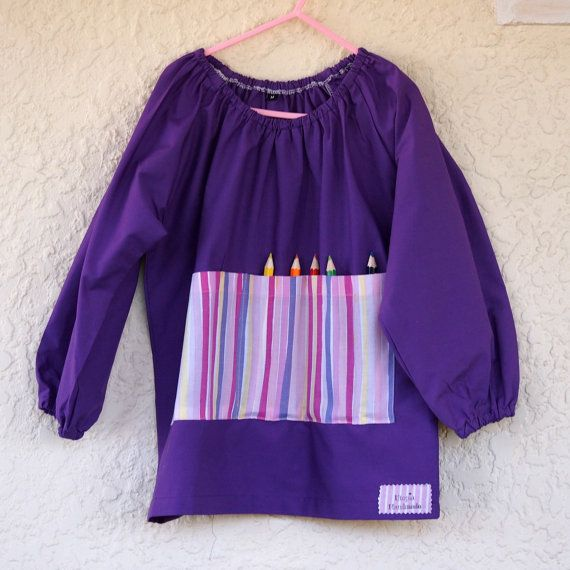 Art smock  M 5-7  Purple Power by UtopiaHandmade on Etsy
