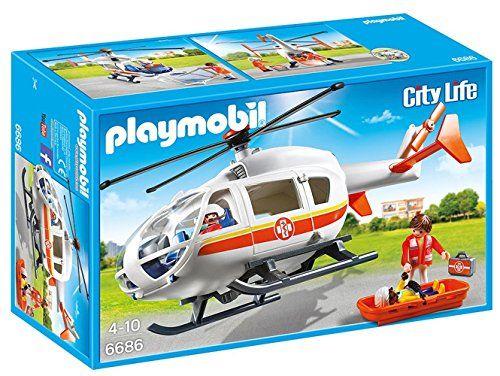 Playmobil – 6686 – Hlicoptre mdical: Décollage immédiat de l'hélicoptère des secouristes pour intervention d'urgence ! Hélicoptère médical…