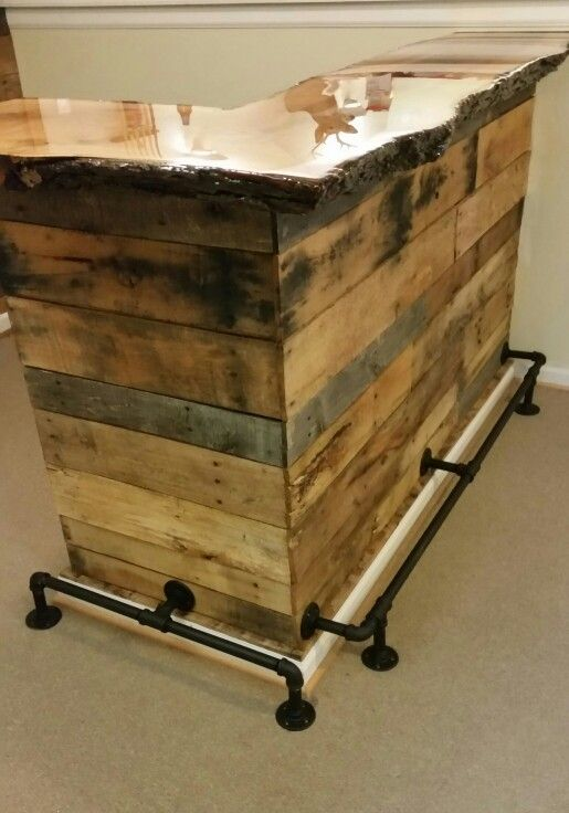 Pallet wood bar with live edge slab red oak top