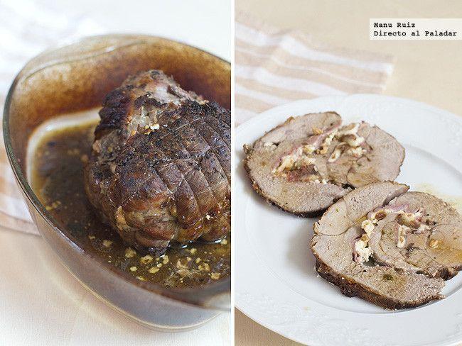 Receta de pierna de cordero rellena de queso, jamón y dátiles. Con fotografías paso a paso. Con consejos de elaboración y degustación. Recetas...