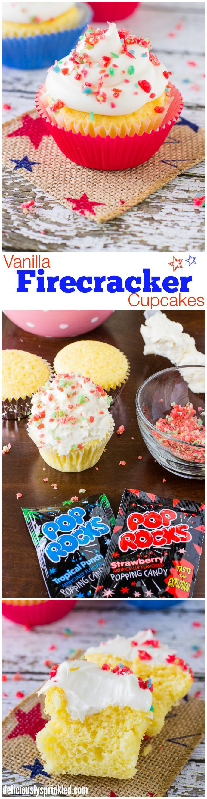 Easy Vanilla Cupcakes topped with Pop Rocks, for a fun 4th of July dessert!