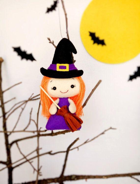 Adornos de Halloween bruja Linda peluches fieltro por BelkaUA