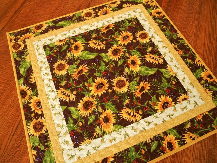 Sunflower Table Topper, Quilted Square Table Topper with Golden Yellow…