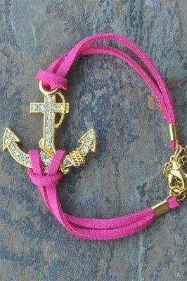 Suede Crystal Anchor Bracelet