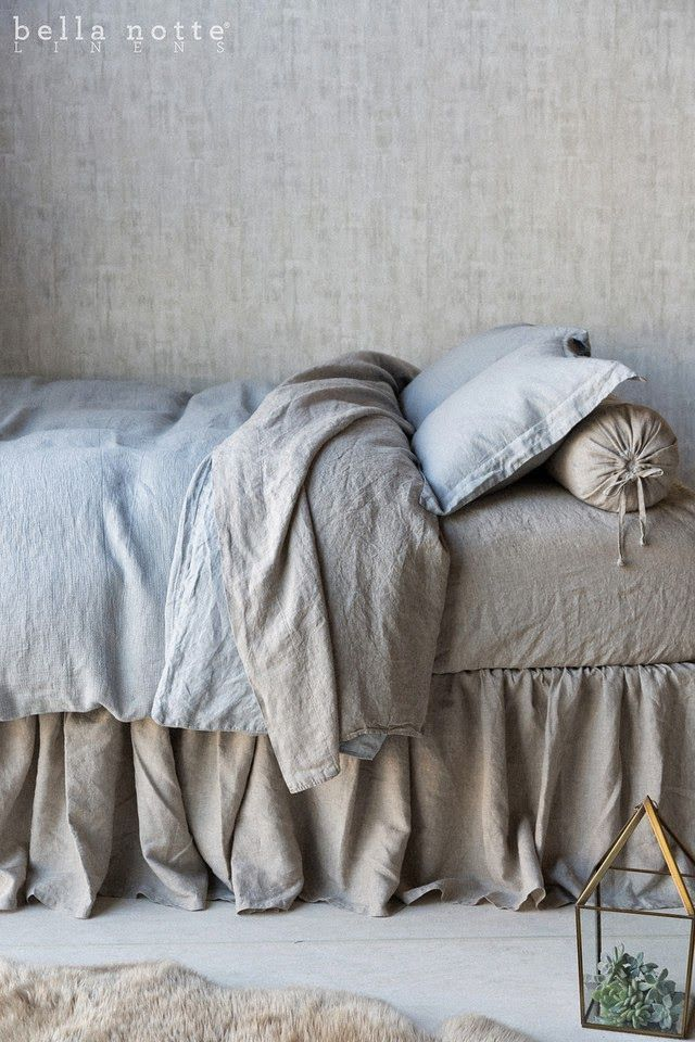 Harper our new natural linen and Mineral, or soft seafoam blue bed linens #LuxuryBeddingLinens #LuxuryBedLinen