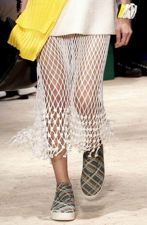 Macrame skirt action at Celine