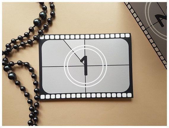 Hollywood Movie theme Wedding Table Numbers Movie theme