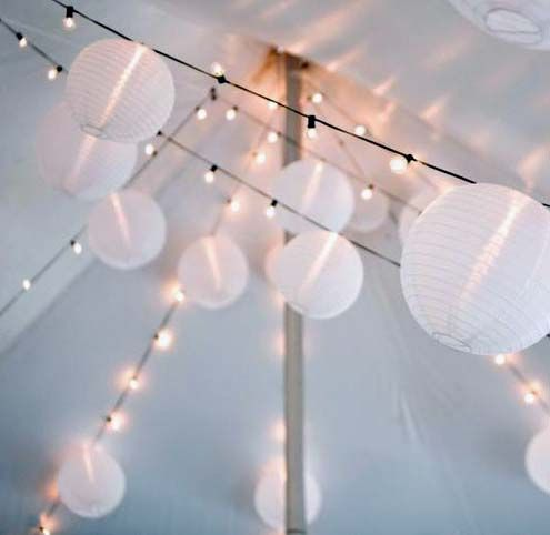 Paper lanterns and globe string lights - joanie and todds wedding Wedding Lights Pinterest ...