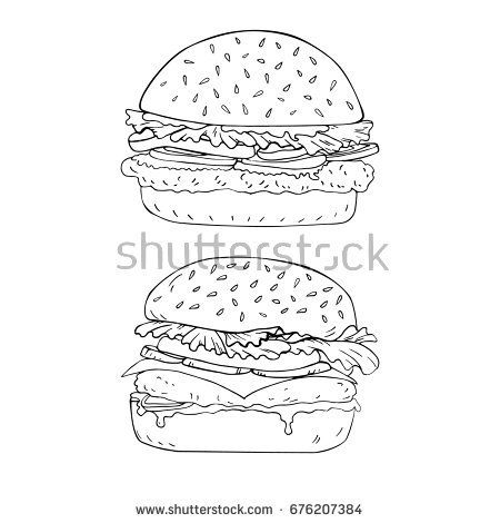 Burger hand drawn in vector. Coloring page