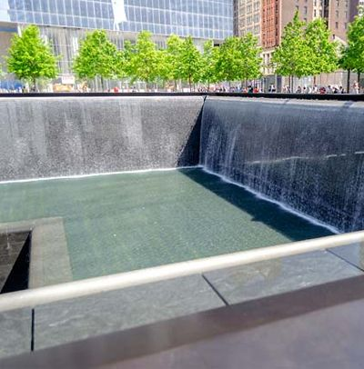 The footprint of the World Trade Center's twin towers has been transformed into the 9/11 Memorial that echoes with sorrow and yet shines with the resilience of the city and its people.