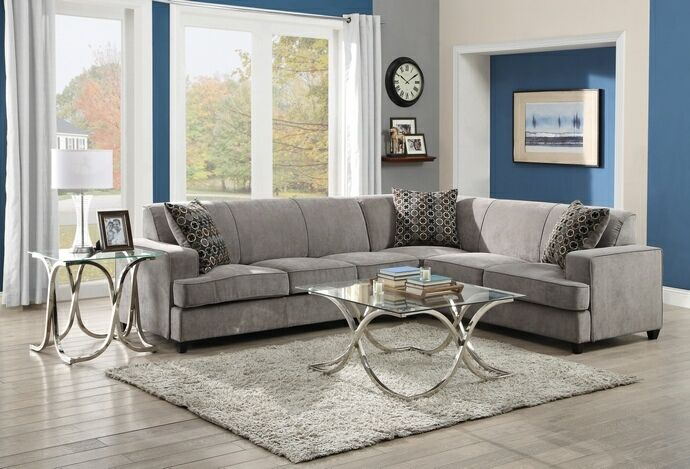 """3 pc Tess collection transitional style grey microvelvet fabric upholstered sectional sofa with pull out bed.  This set includes the Left arm sofa with pull out bed , corner wedge and right arm love seat.   Measures 114"""" x 90"""" x 34.5"""" H.  Some assembly required."""
