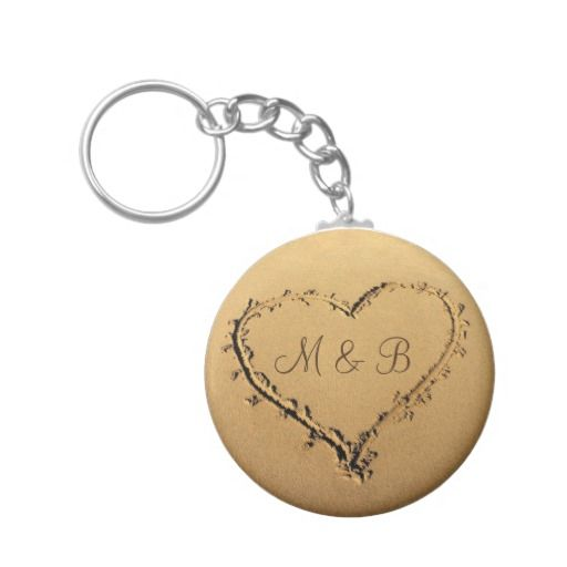 Heart at the Beach Personalized Monograms Keychain  #Heart #Beach #Personalized #Monograms #Keychain #zazzle   #valentine #giftsforvalentine  #love #romantic