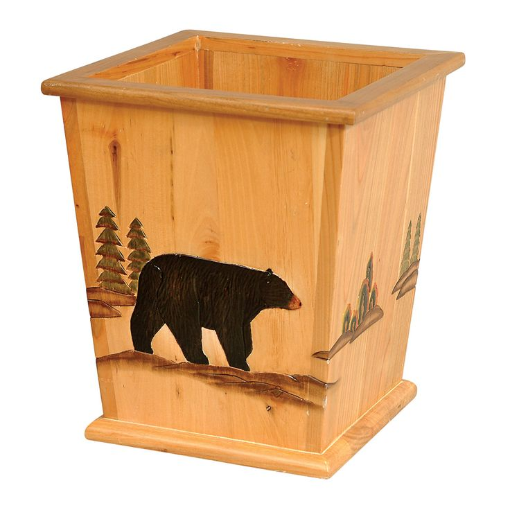 Wood black bear waste basket cabin pinterest bears for Rustic bear home decor