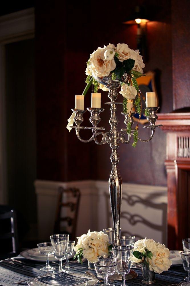 Silver Candelabra White Garden Rose White Calla Lily Centerpiece