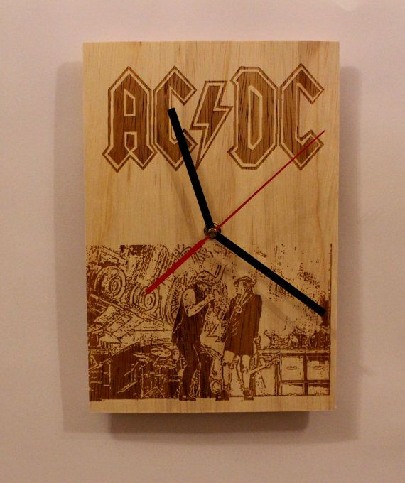 Check out this item in my Etsy shop https://www.etsy.com/listing/507232625/handmade-wooden-wall-clock-band-ac-dc