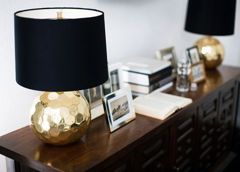 gold hammered lamps: Gold Tables, Gold And Black Bedrooms, Navy Blue And Gold Bedrooms, Master Bedrooms, Tables Lamps, Black Gold Lamps, Lamps Based, Happy House, House Manifesto