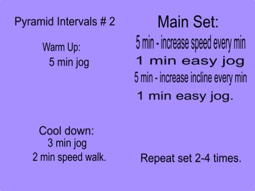 Pyramid Intervals # 2! Love these because they combine speed training and hill training. When you do the main set increase your speed every minute for five minutes. At the end you should be sprinting. After a 1 min jog increase your incline every minute for five minutes. Jog then repeat. Do the main set twice if you have 30 min and / or you are training for a 5km run. Do the main set 3-5 times if you are training for a 10km race, a 1/2 marathon or you have 45+ min for your run.