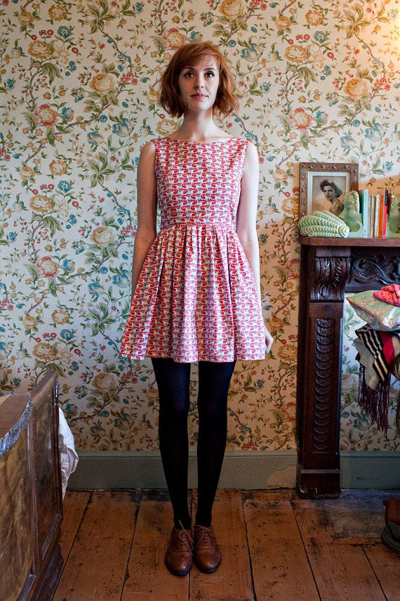 IsabelKnowles: The 'Foxglove' Vintage Inspired Dress with Low Back & Full Skirt in Fox Print Organic Cotton