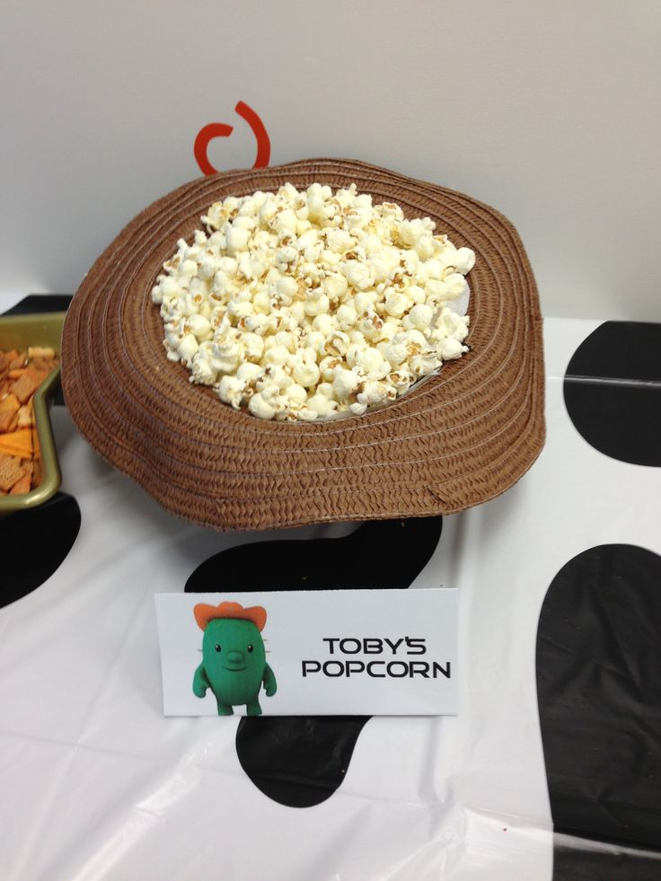 Toby's favorite snack -- served in a cowboy hat!