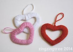 Beautiful yet simple Wool Heart Wreath Decorations. Perfect for Valentines Day