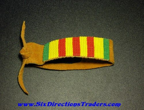 Vietnam War Veteran Loom Beaded Bracelet Tribal Primitive Leather | SixDirectionsTraders - Jewelry on ArtFire