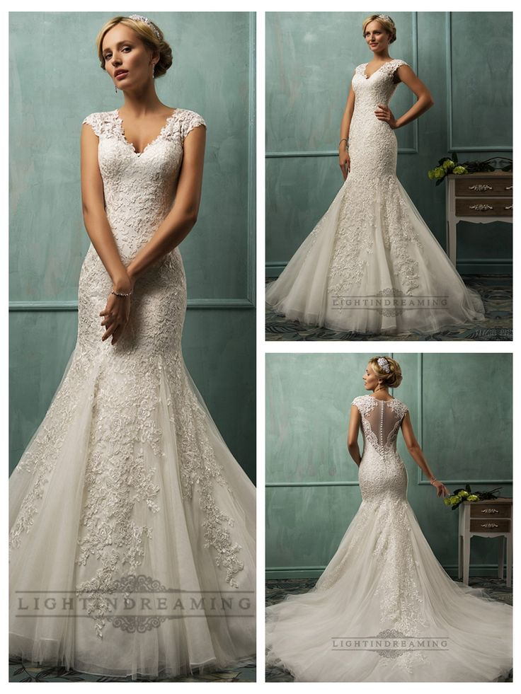 Fit and Flare Cap Sleeves V-neck Lace Wedding Dresses with Illusion Back http://www.ckdress.info/fit-and-flare-cap-sleeves-vneck-lace-wedding-  dresses-with-illusion-back-p-501.html  #wedding #dresses #dress #lightindream #lightindreaming #wed #clothing   #gown #weddingdresses #dressesonline #dressonline #bride
