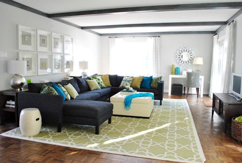Almost like my color scheme idea for our living room...but we're using brown instead of black, and more subdued tones of blue and green. I think our colors are slightly more relaxing