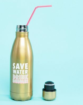 Paperchase Save Water Drink Bubbles Metal Water Bottle