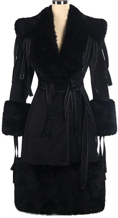 Tassel-Sash Embellished Fur Trim Coat in Black
