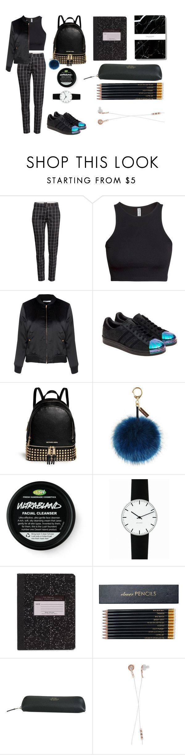 """""""First Day Of SCHOOL!"""" by eirini-kastrou on Polyvore featuring H&M, Glamorous, adidas Originals, MICHAEL Michael Kors, Helen Moore, Rosendahl, Sloane Stationery, Smythson and Frends"""