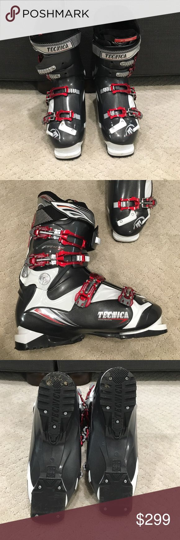 MENS Tecnica Ski boots 27.5 on heel (sz 10 ) MENS Tecnina PHNX 80 style ski boots. Heel says 27.5. Worn once. Perfect condition. Grey white red. Inside black. Side of boot says 315 mm / 275. For size 10 MENS. Pet / smoke free home. Tecnica Shoes Rain & Snow Boots