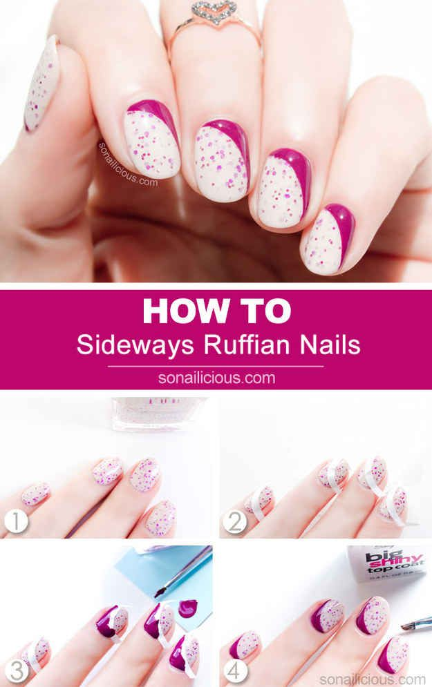 Sideways Ruffian Nails   29 DIY Nail Tutorials You Need To Try This Spring
